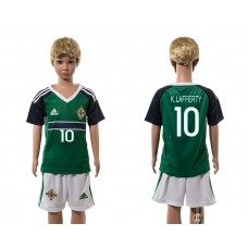 European Cup 2016 Northern Ireland home 10 K.Lafferty green kids soccer jerseys