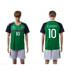 European Cup 2016 Northern Ireland home 10 K.Lafferty green soccer jerseys