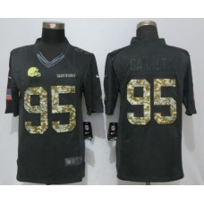 2017 NFL New Nike Cleveland Browns 95 Garrett Anthracite Salute To Service Limited Jersey