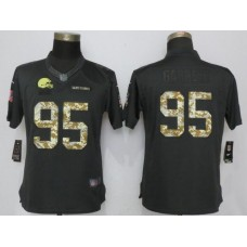 2017 NFL Women New Nike Cleveland Browns 95 Garrett Anthracite Salute To Service Limited Jersey