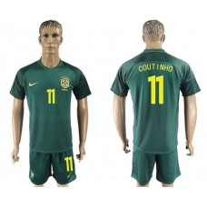 Men 2017-2018 National Brazil away 11 green soccer jersey
