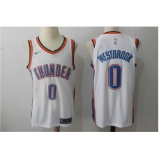 Men Oklahoma City Thunder 0 Russell Westbrook White New Nike Season NBA Jerseys
