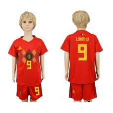 2018 World Cup Belgium home kids 9 red soccer jersey