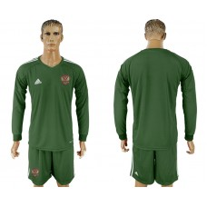 Men 2018 World Cup National Russia Army green goalkeeper long sleeve soccer jersey