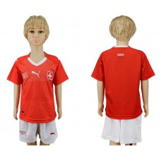 2018 World Cup Switzerland home kids red soccer jersey