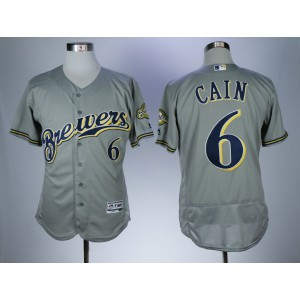 Men Milwaukee Brewers 6 Cain Grey Elite MLB Jerseys
