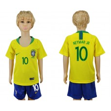 2018 World Cup Brazil home kids 10 yellow soccer jersey