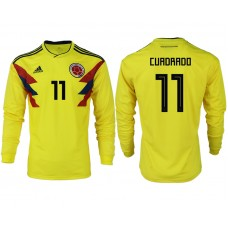 Men 2018 World Cup Colombia home long sleeve aaa version 11 yellow soccer jersey