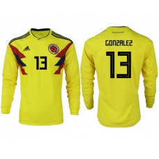 Men 2018 World Cup Colombia home long sleeve aaa version 13 yellow soccer jersey