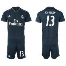 Men 2018-2019 club Real Madrid away 13 blue soccer jerseys