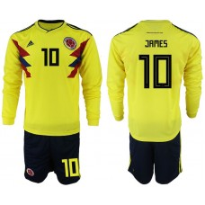 Men 2018 World Cup Colombia home Long sleeve 10 yellow soccer jerseys