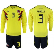 Men 2018 World Cup Colombia home Long sleeve 3 yellow soccer jerseys