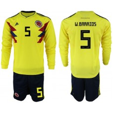 Men 2018 World Cup Colombia home Long sleeve 5 yellow soccer jerseys