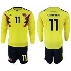 Men 2018 World Cup Colombia home Long sleeve 11 yellow soccer jerseys