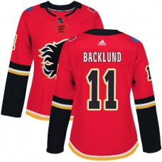 Adidas Calgary Flames 11 Mikael Backlund Red Home Authentic Women Stitched NHL Jersey