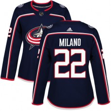 Adidas Columbus Blue Jackets 22 Sonny Milano Navy Blue Home Authentic Women Stitched NHL Jersey