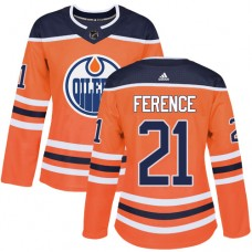 Adidas Edmonton Oilers 21 Andrew Ference Orange Home Authentic Women Stitched NHL Jersey