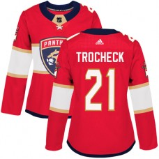 Adidas Florida Panthers 21 Vincent Trocheck Red Home Authentic Women Stitched NHL Jersey