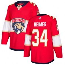 Adidas Florida Panthers 34 James Reimer Red Home Authentic Stitched Youth NHL Jersey
