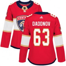 Adidas Florida Panthers 63 Evgenii Dadonov Red Home Authentic Women Stitched NHL Jersey