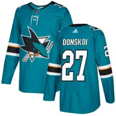 Adidas Men San Jose Sharks 27 Joonas Donskoi Teal Home Authentic Stitched NHL Jersey