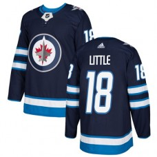 Adidas Men Winnipeg  Jets 18 Bryan Little Navy Blue Home Authentic Stitched NHL Jersey