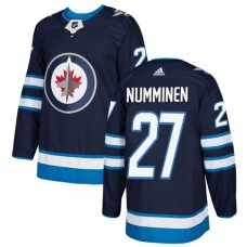 Adidas Men Winnipeg  Jets 27 Teppo Numminen Navy Blue Home Authentic Stitched NHL Jersey
