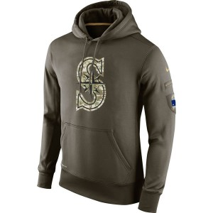 MLB Men Seattle Mariners Nike Olive Salute To Service KO Performance Hoodie Green