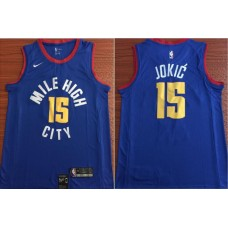 Men Denver Nuggets 15 Jokic Blue Game Nike NBA Jerseys
