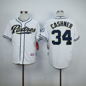 Men San Diego Padres 34 Cashner White MLB Jerseys