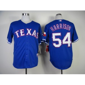 Men Texas Rangers 54 Harrison Blue MLB Jerseys