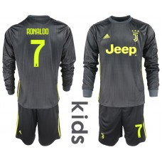 2018_2019 Club Juventus away long sleeves Youth 7 soccer jerseys