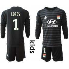 2018_2019 Club Olympique Lyonnais black long sleeve Youth goalkeeper 1(1) soccer jerseys