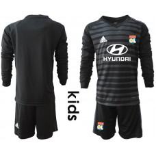 2018_2019 Club Olympique Lyonnais black long sleeve Youth goalkeeper black soccer jerseys