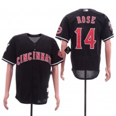Men Cincinnati Reds 14 Rose Black Game MLB Jerseys