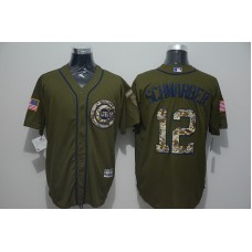 2016 MLB Chicago Cubs 12 Kyle Schwarber Green Salute to Service Stitched Baseball Jersey