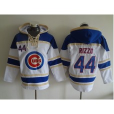 2016 MLB Chicago Cubs 44 Rizzo white Lace Up Pullover Hooded Sweatshirt