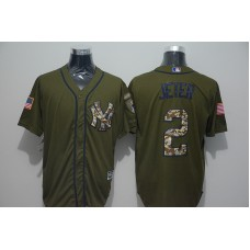 2016 MLB New York Yankees 2 Derek Jeter Green Salute to Service Stitched Baseball Jersey