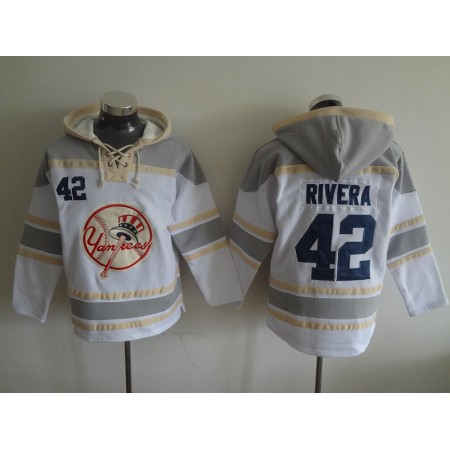 2016 MLB New York Yankees 42 Rivera white Lace Up Pullover Hooded Sweatshirt