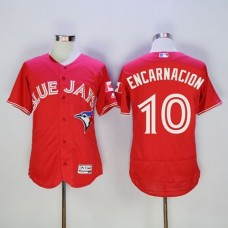 2016 Toronto Blue Jays 10 Edwin Encarnacion Red Flexbase Authentic Collection Canada Day Stitched Baseball Jersey