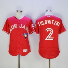2016 Toronto Blue Jays 2 Troy Tulowitzki Red Flexbase Authentic Collection Canada Day Stitched Baseball Jersey