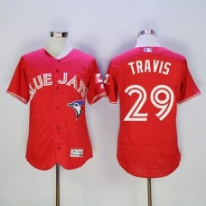 2016 Toronto Blue Jays 29 Devon Travis Red Flexbase Authentic Collection Canada Day Stitched Baseball Jersey