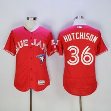 2016 Toronto Blue Jays 36 Drew Hutchison Red Flexbase Authentic Collection Canada Day Stitched Baseball Jersey