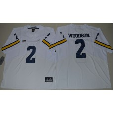 2016 NCAA Jordan Brand Michigan Wolverines 2 Charles Woodson White College Football Elite Jersey