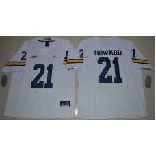 2016 NCAA Jordan Brand Michigan Wolverines 21 Desmond Howard White College Football Elite Jersey