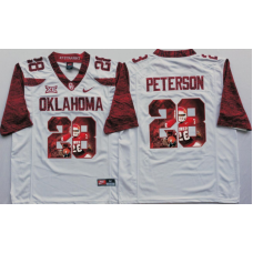 2016 NCAA Oklahoma Sooners 28 Peterson White Limited Fashion Edition Jerseys