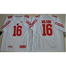 2016 NCAA UA Wisconsin Badgers 16 Russell Wilson White College Football Jersey