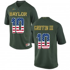 2016 US Flag Fashion Men Baylor Bears Rebort Griffin III 10 College Football Jersey Green
