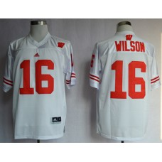 NCAA Wisconsin Badgers 16 Russell Wilson White College Football Jerseys