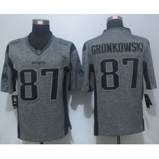 2016 New Nike New England Patriots 87 Gronkowski Gray Men's Stitched Gridiron Gray Limited Jersey